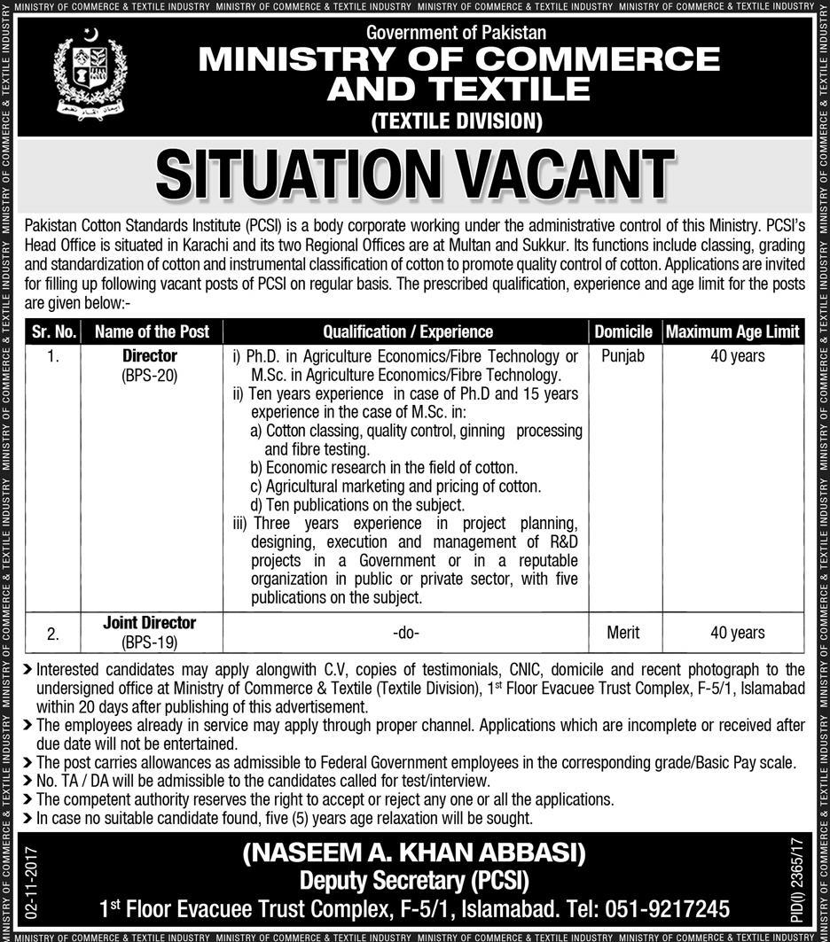 Jobs Ministry Of Commerce And Textile Islamabad November 2017