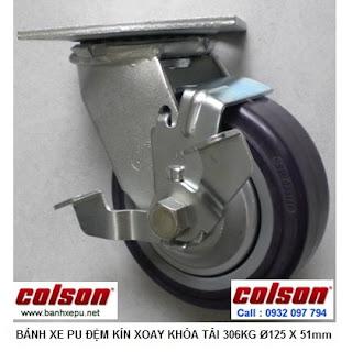 Bánh xe đẩy có khóa PU 125 chịu tải trọng nặng 306kg | S4-5209-925P-B3 www.banhxepu.net