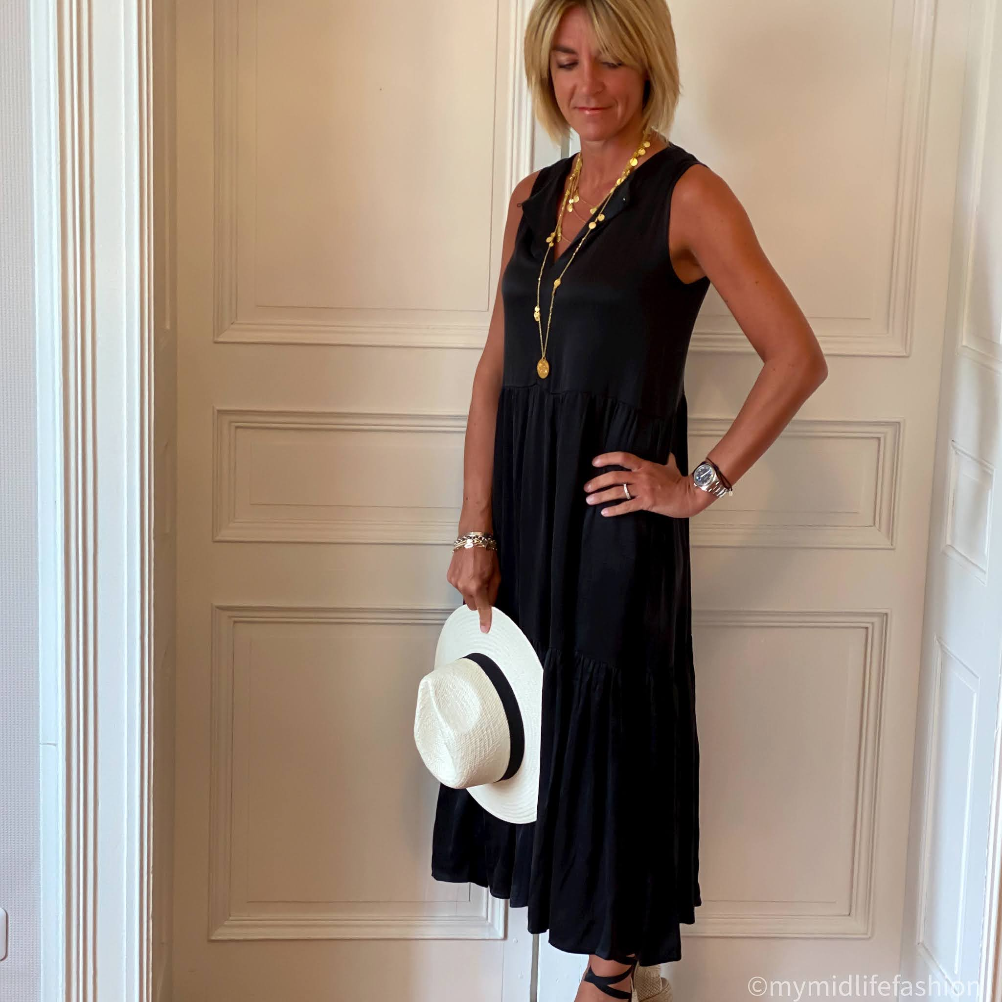 my midlife fashion, saint and Sofia black maxi summer dress cupro, zara Panama hat, boden Cassie wedge espadrilles