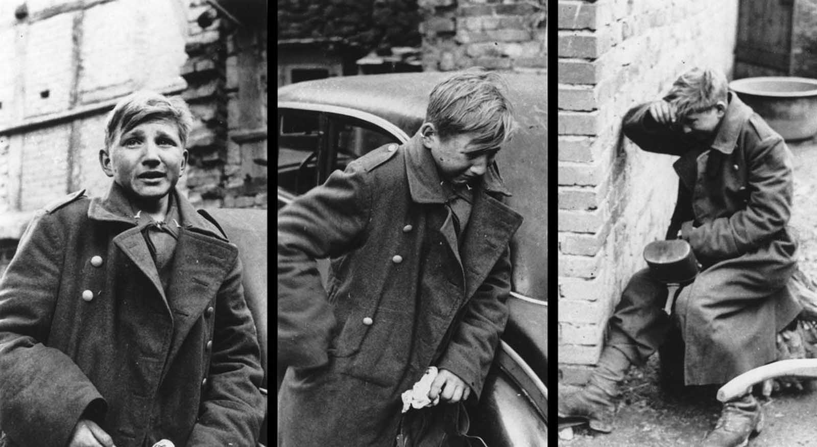This combination of three photographs shows the reaction of a 16-year old German soldier after he was captured by U.S. forces, at an unknown location in Germany, in 1945.