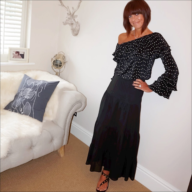 my midlife fashion, marks and spencer spotted one shoulder long sleeve top, boho black maxi skirt, iro embellished eyelet leather sandals