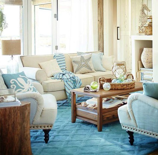 Blue and Sandy Beige Beach Theme Living Room by Pier 1