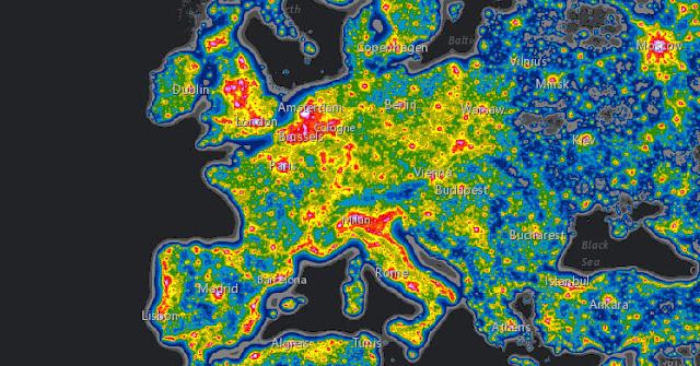 mapa da poluição luminosa - Europa