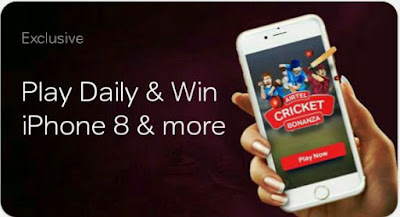 [Airtel cricket bonanza]-play and win iphone8 48 inc mi tv and gift cards.