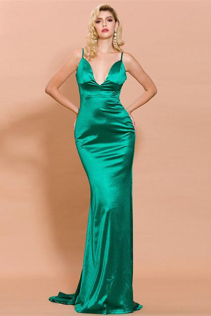 green mermaid long prom party dress