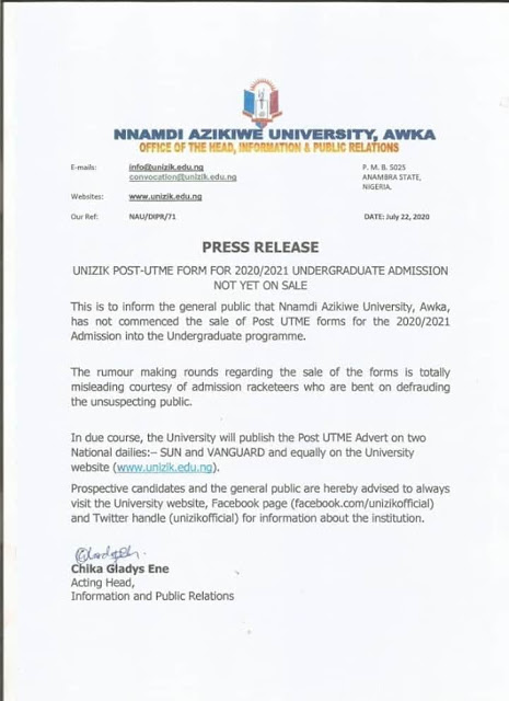 UNIZIK Post-UTME & DE Screening Form 2020/2021 [Disclaimer]
