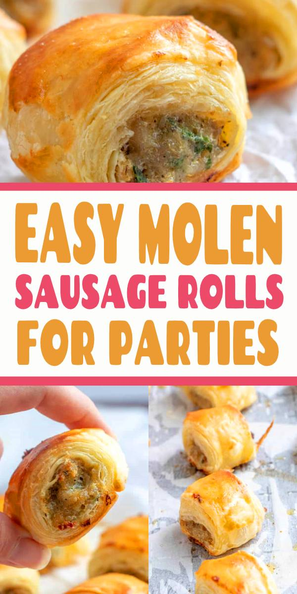 Easy, filling and perfect for parties these Molen Sausage Rolls are savory, meaty and full of just the right amount of spices that they are a hit among party guests! #appetizer #sausage #rolls #puffpasty #partyfood #fingerfood