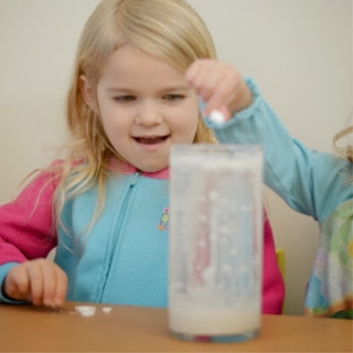 Wow kids of all ages and make a snow storm in-a-jar!  This experiment is a great activity for a cold winter day indoors! #snow #snowstorm #snowstorminajar #snowstormexperiment #snowexperimentsforkids #snowexperimentspreschool #snowcrafts #winterscienceexperimentsforkids #wintercrafts #growingajeweledrose #activitiesforkids
