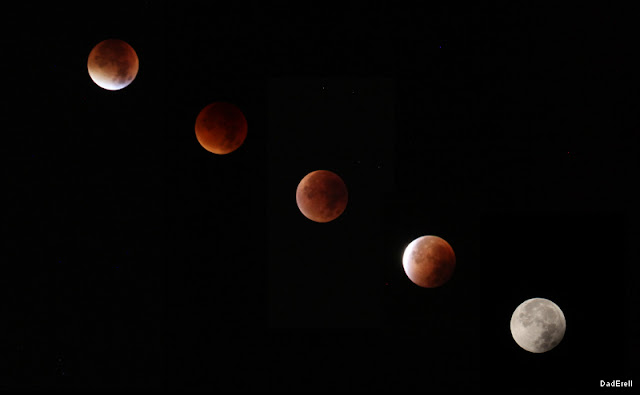 Photo montage des phases de l'éclipse de lune