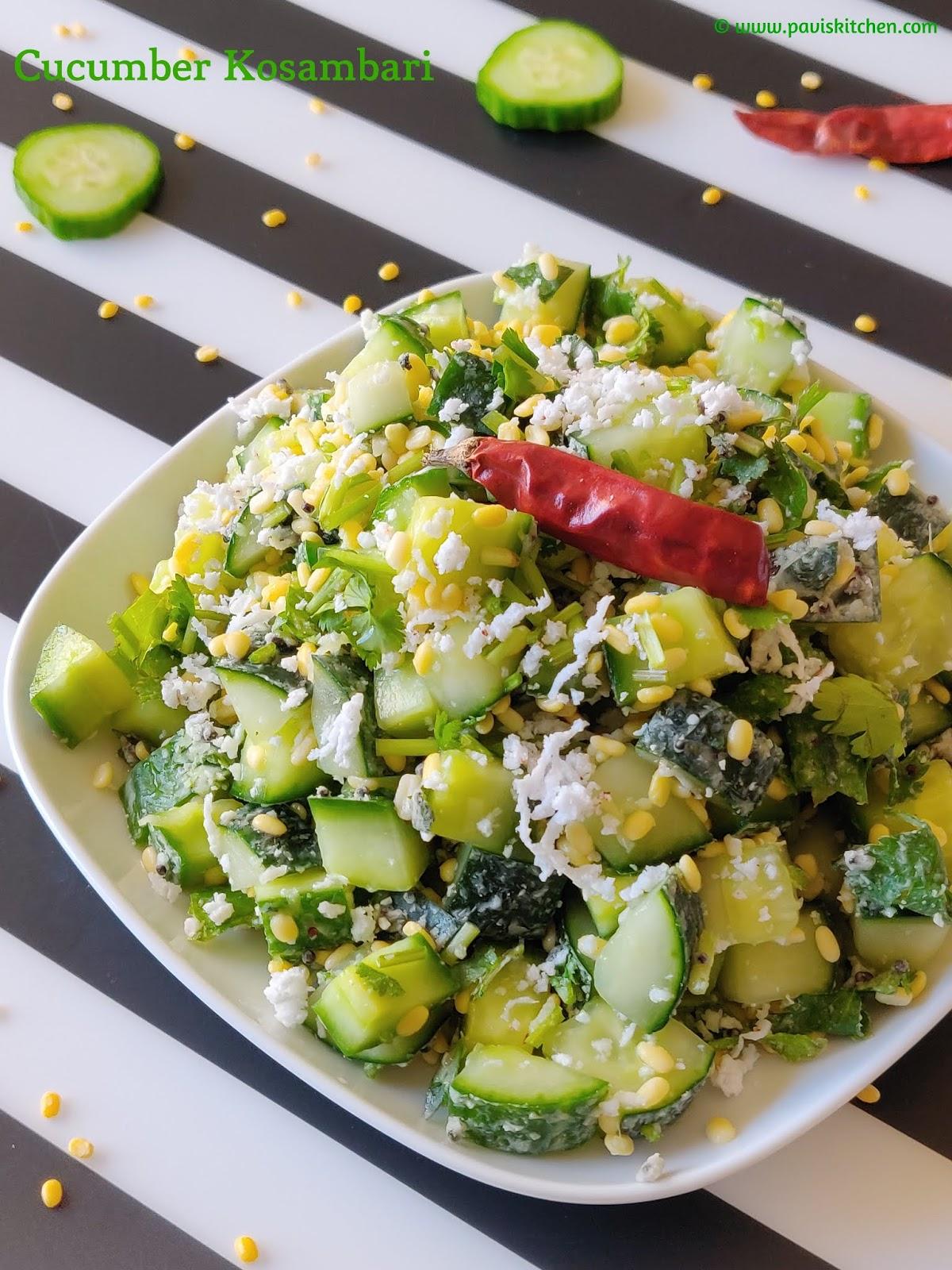 Cucumber Moong Dal Salad   Southekayi Kosambari   Vellarikka Kosumalli