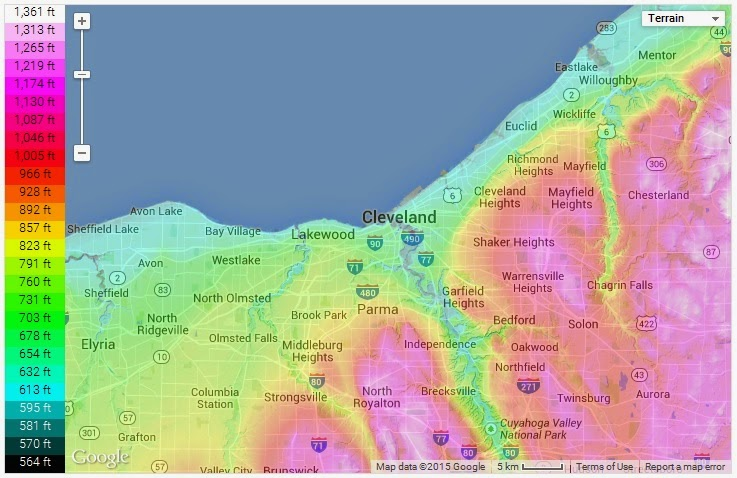 Topography Map Of Ohio.Weather And Climate In Cleveland Ohio Climate Controls Climate