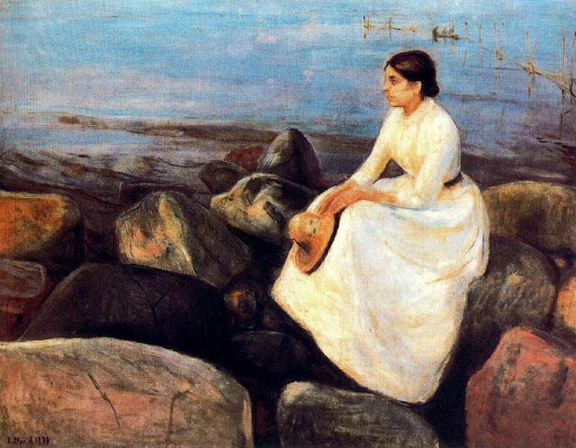 Эдвард Мунк - Летняя ночь (Ингер не берегу). 1889