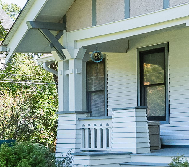 high resolution image of front porch column and bracket details--photo by John Flack --Sears Elsmore 1350 Forest Ave St Louis MO 63122