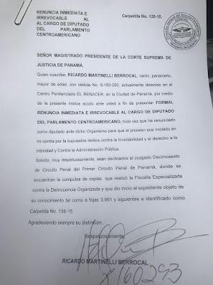 Renuncia al cargo de diputado del parlamento centroamericano Ricardo Martinelli