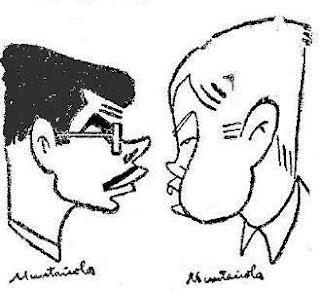 Caricaturas de Medina y Pomar por Joaquim Muntañola