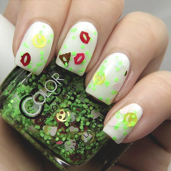 Green emoji glitter nail polish