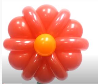 Ballonmodellage von bunten Blumen.