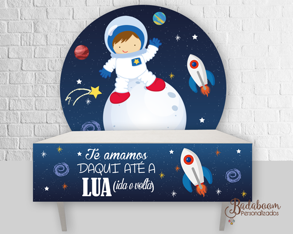 Astronauta, foguete, galáxia, estrelas, painel, painel redondo, sai de mesa, festa infantil, arte digital, kit digital, arte personalizada