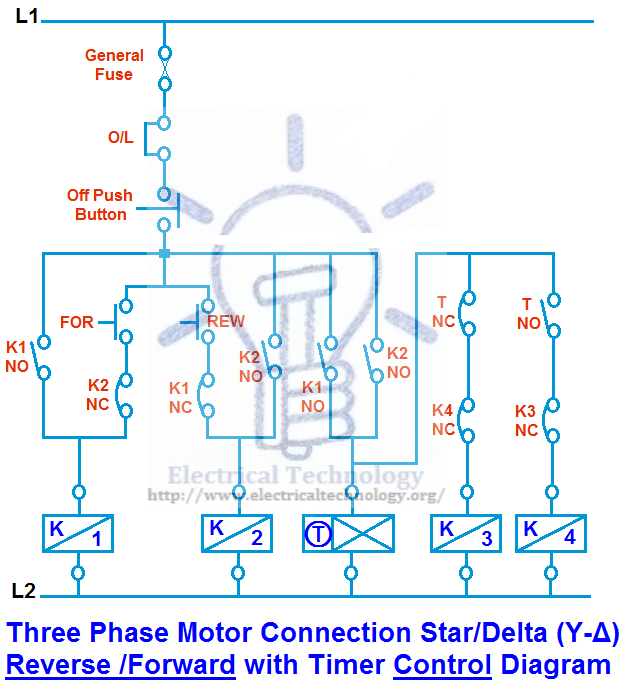 Three Phase Motor Connection Star/Delta (Y-Δ) Reverse ...