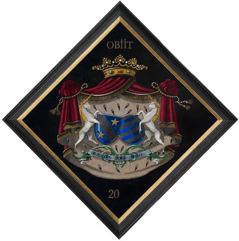 Tableau armorié, 70 x 70 cm, de Marnix. Par Nolet de Brauwere.