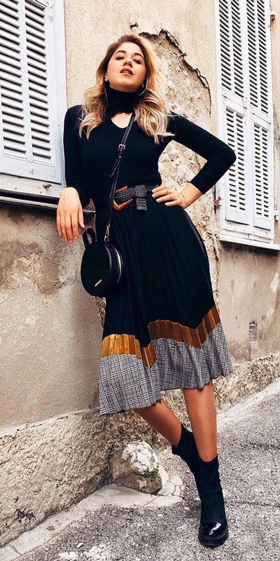 Do you like comfortable & cozy dress outfits? See these 29 Best Casual Dressy Outfits to Look Fantastic. Women's Style + Fashion via higiggle.com | Black Midi Dress | #fashion #dress #casualoutfits #mididress