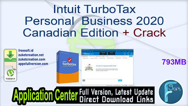 Intuit TurboTax Personal  Business 2020 Canadian Edition