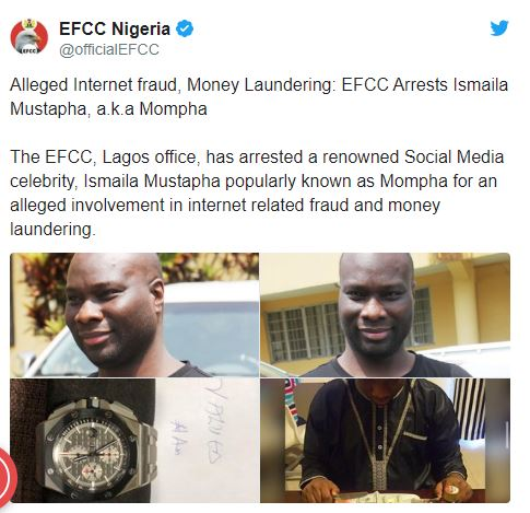 EFCC arrests Instagram celebrity Mompha for alleged fraud