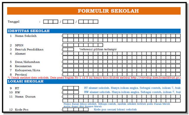 Formulir Dapodik Versi 2019 SD SMP SMA SMK SLB