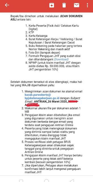 Contoh isi Balasan Email Untuk Klaim JHT Sistem LAPAK ASIK BPJS Ketenagakerjaan