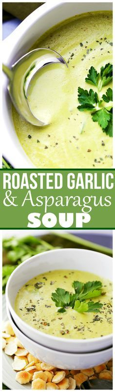 Deliciously creamy, yet healthy and easy to make soup with roasted garlic and asparagus.