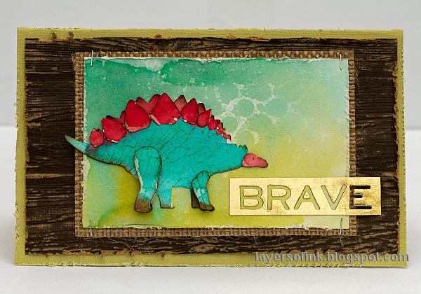Layers of ink - Dinosaur Cards Tutorial by Anna-Karin Evaldsson. Stegosaurus card.