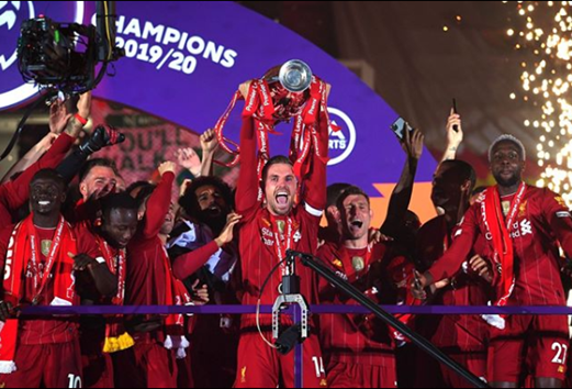 Reds Lift Premier League Trophy on the Kop at Anfield
