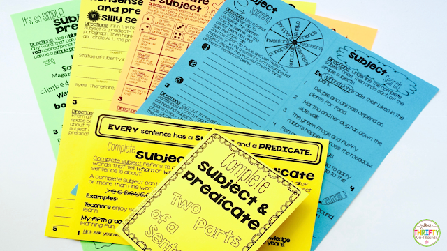Subject and predicate interactive notebook activities are a fun option for students to practice the skills while providing great reference tools later.