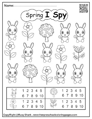 spring i spy printable free preschool coloring pages game for kids, bunny rabbit,flowers,tree,snail,sun,egg,ladybug,butterfly,chick peeps