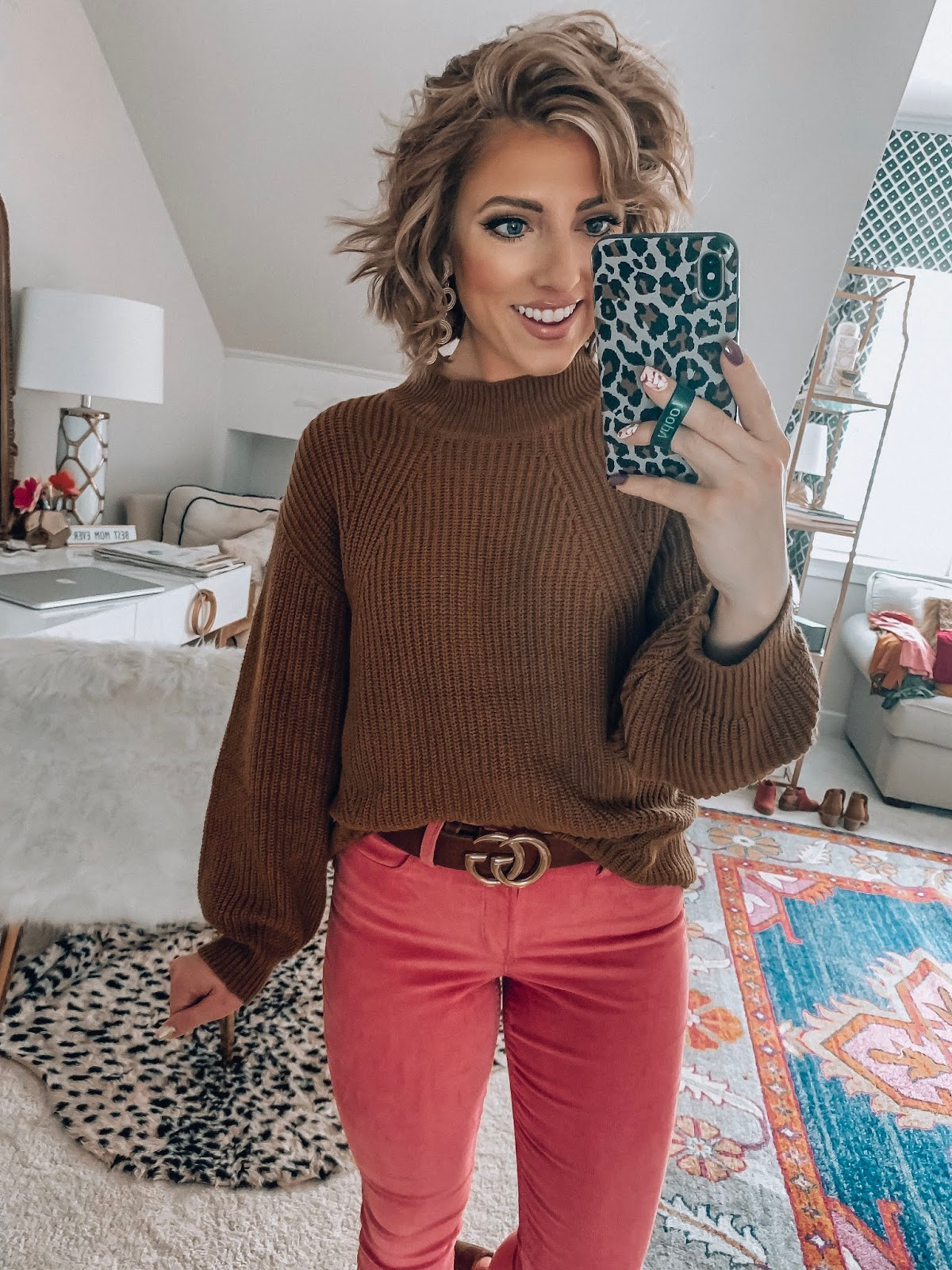 Old Navy High Waist Rockstar Cord Skinnies + Mock Neck Sweater - Somethig Delightful Blog #affordablefashion