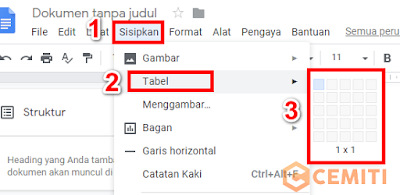 Cara Membuat Table di Google Docs