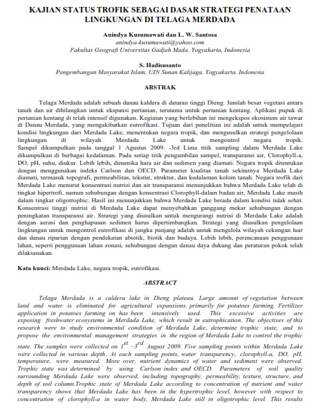 Kajian Status Trofik Sebagai Dasar Strategi Penataan Lingkungan di Telaga Merdada [PAPER]