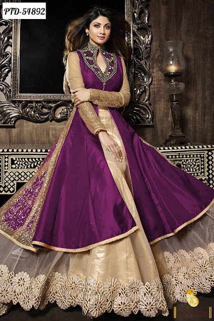 Shilpa Shetty in purple beige color chiffon designer anarkali salwar suit at lowest price