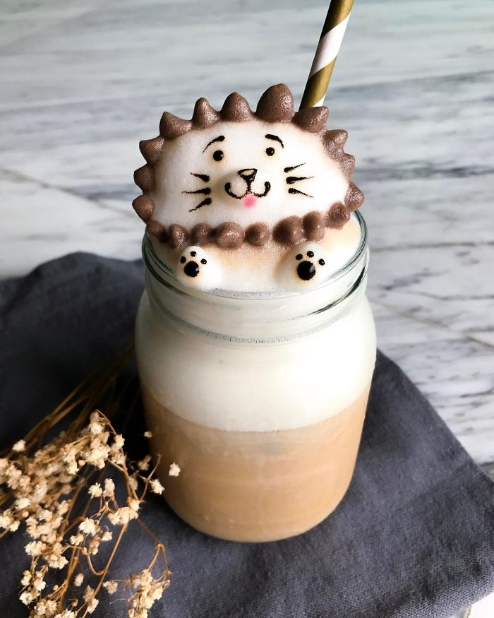12-Spiky-Cat-Daphne-Tan-3D-Coffee-Latte-Creature-Designs-www-designstack-co