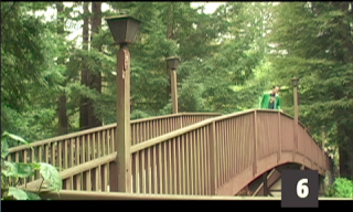 screen shot of Dan leaning over the railing of the footbridge