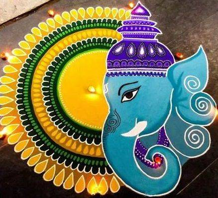 beautiful latest rangoli designs of ganesha