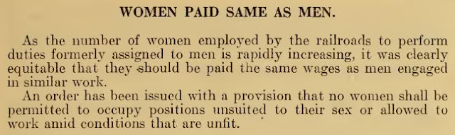 The U.S. government recommended paying women the same wages as men...in 1918!