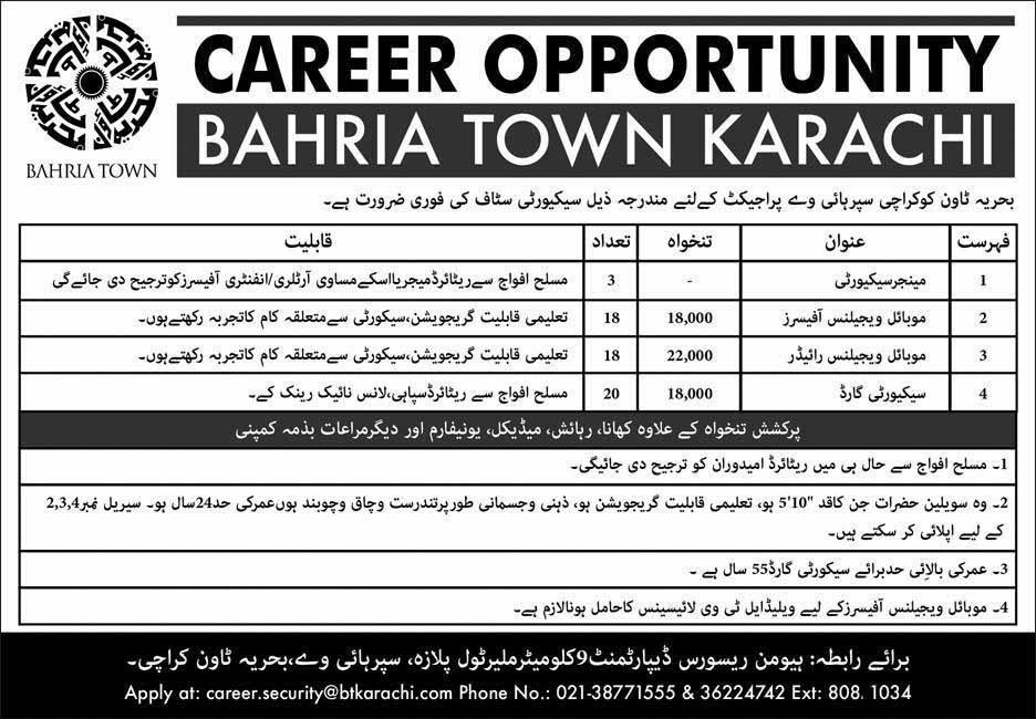 Bahria Town Karachi Jobs in Highway Project 2019
