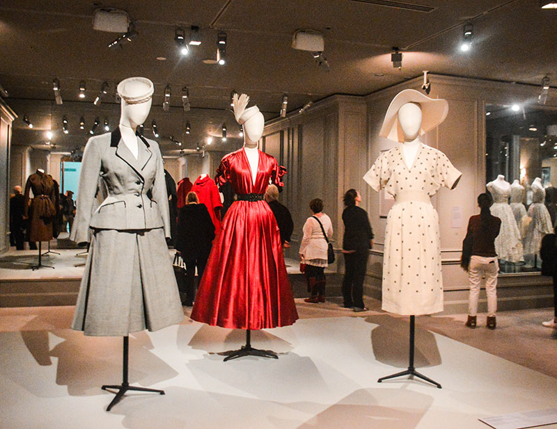 vintage 1940s dior couture s band waist garments at house of dior exhibition at national gallery of victoria melbourne