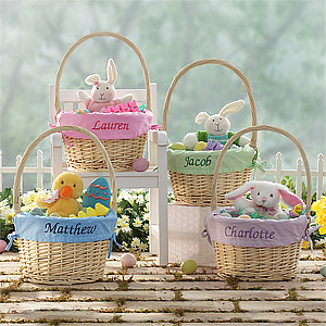 15 of the best personalized easter baskets and gift ideas colorful easter egg table runner great for any easter tablescape negle Gallery