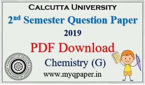 Download Calcutta University Chemistry General Question Paper 2019 2nd Sem.