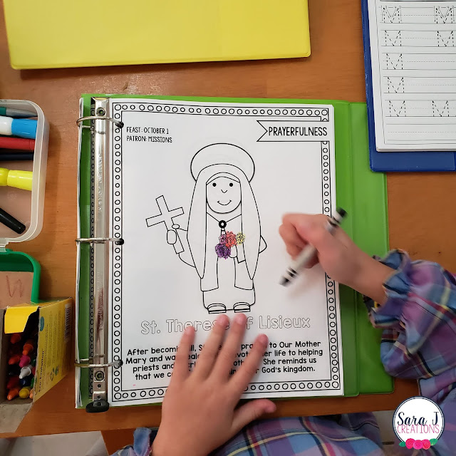 Use a Catholic Saints coloring book to celebrate saints and take Baby Steps to Living Liturgically