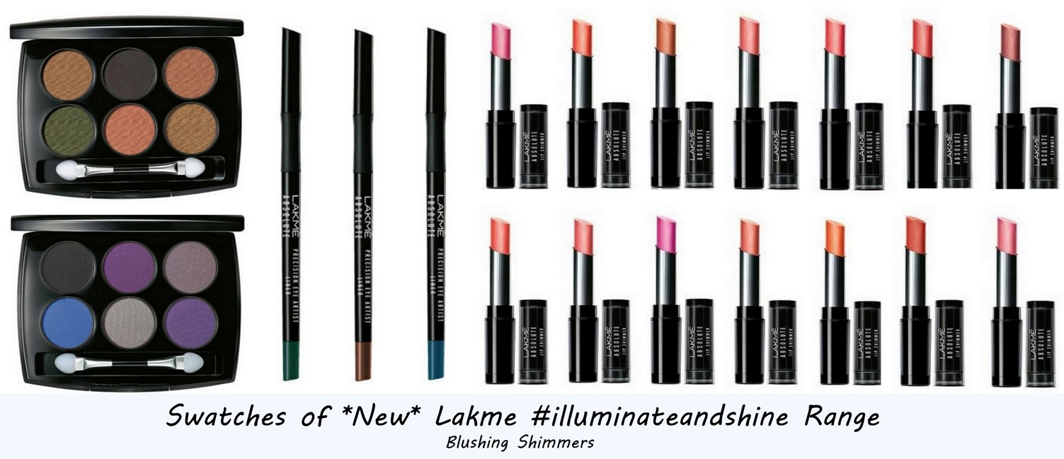 Lakme Lip shimmers,eyeshadow palette swatches