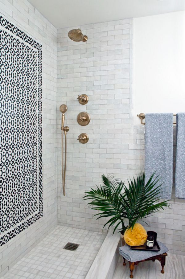 marble shower tile gold silver copper bath hardware