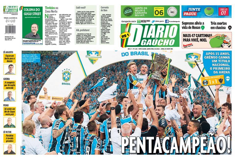 COPA 2016  Grêmio Imortal Tricolor é pentacampeão brasileiro  33f03c856d0f4